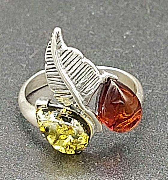 Ring Amber Sterling Silver Size 5