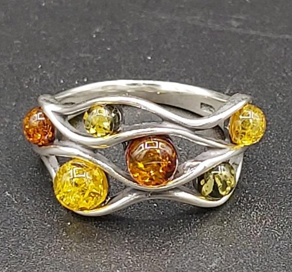 Ring Amber Sterling Silver Size 7