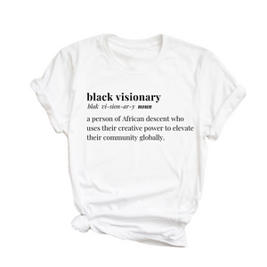 Black Visionary Unisex T-Shirt- White