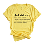 Black Visionary Unisex T-Shirt- Yellow