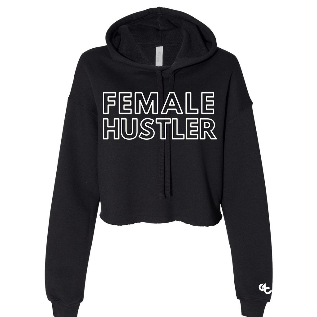 Female Hustler Cropped Hoodie - Black
