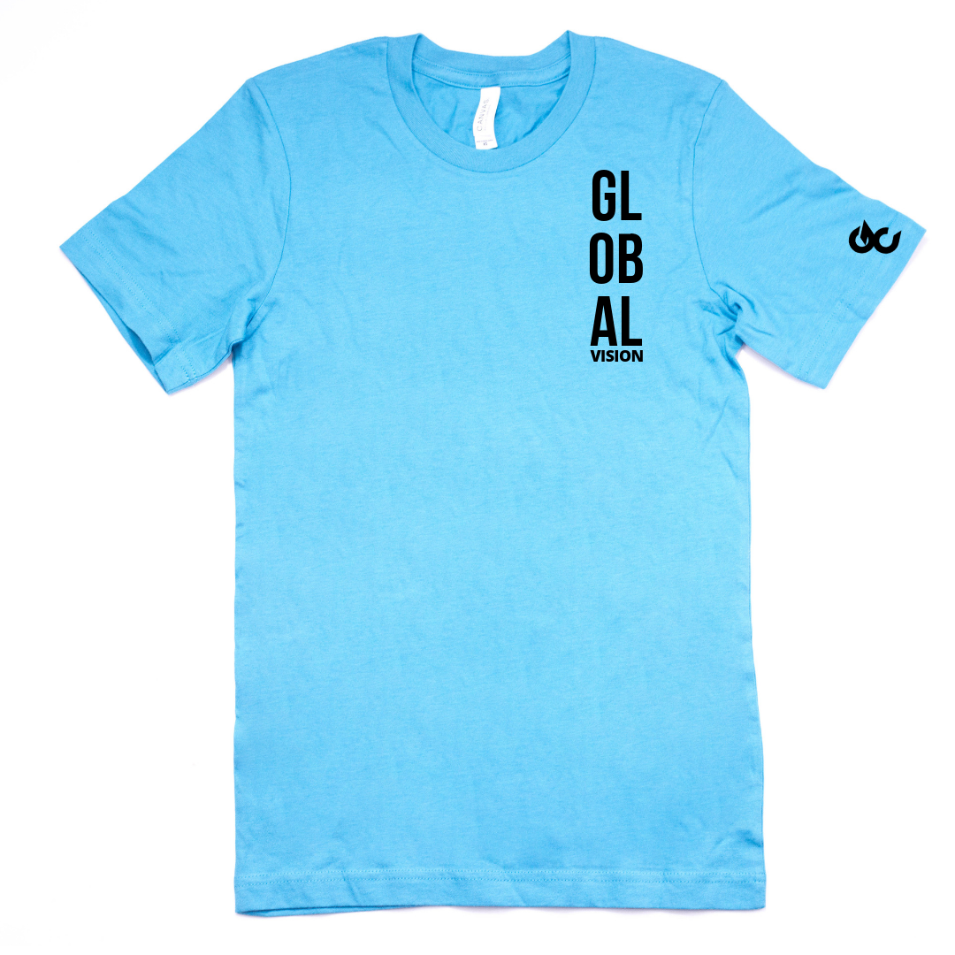 Global Vision Unisex T-Shirt- AQUA BLUE