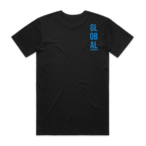 Global Vision Unisex T-Shirt- BLACK WITH BLUE PRINT