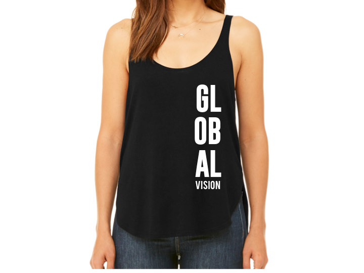 Global Vision Women's Flowy Side Slit Tank- BLACK