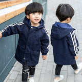 Tiny Cottons Solid Hooded Long Jacket Coat Juventus Boys Trench Windbreaker Casaco 2018 New Spring Kot Ceket Bobo Kids Choses