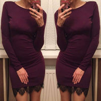 2017 Women Casual Dress Fit Ladies Elegant lace solid bodycon dress Christmas evening party long sleeve winter dress LX067