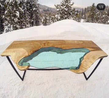 Blue Glass Lake and Wood Table