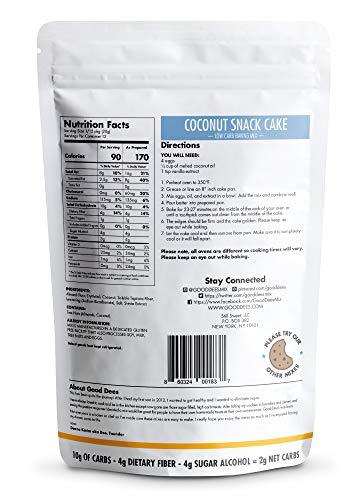 Good Dee's Coconut Cake Mix – 2g net Carbs per Serving, 12 Servings