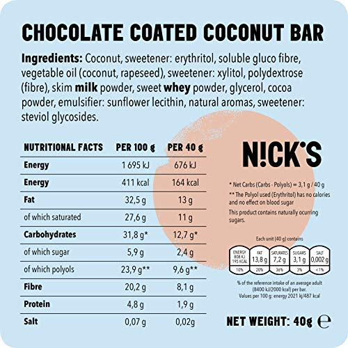 Nicks Coconut, Chocolate Coated Coconut Bar no Added Sugar, Gluten Free 20 x 40g