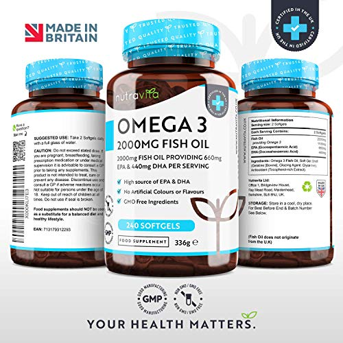 Omega 3 Fish Oil 2000mg 240 Softgel Capsules - Pure Fish Oil – 660mg EPA & 440mg DHA per Serving – Made in The UK
