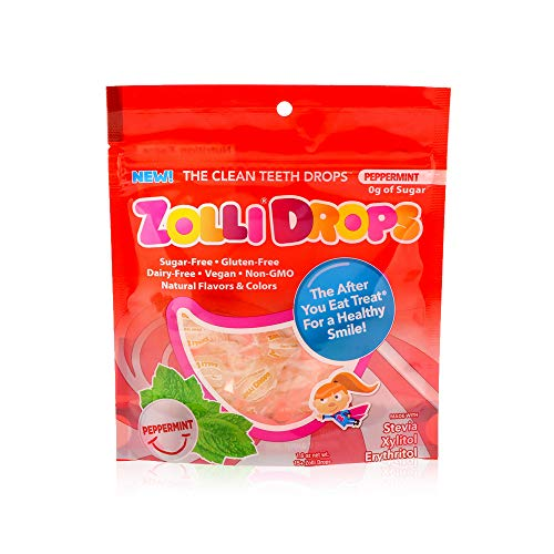 Drops by Zolli Pops Sugar Free Candy - Keto Friendly, Sugar Free Mints, Gluten and Dairy Free - Peppermint Flavour, 1 Pack 15 pcs Bag