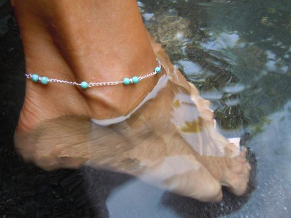 Blue Beads Chain Anklet