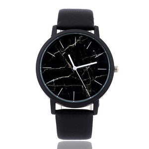 Marble Leather Band Watch