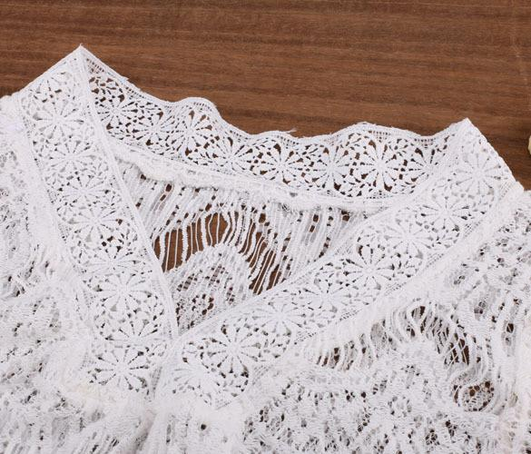 White Lace Crochet Beach Cover- Up