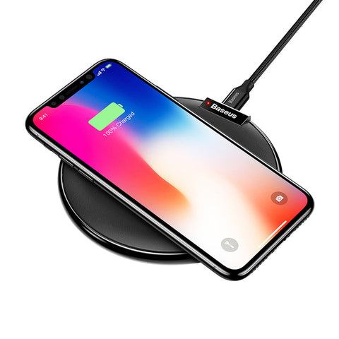 IsThy - Leather Qi Fast Wireless Charging Pad Black