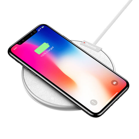 IsThy - Leather Qi Fast Wireless Charging Pad White