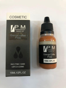 PM Permanent Makeup Pigment / Goochie High End Brand on Orange Coffee