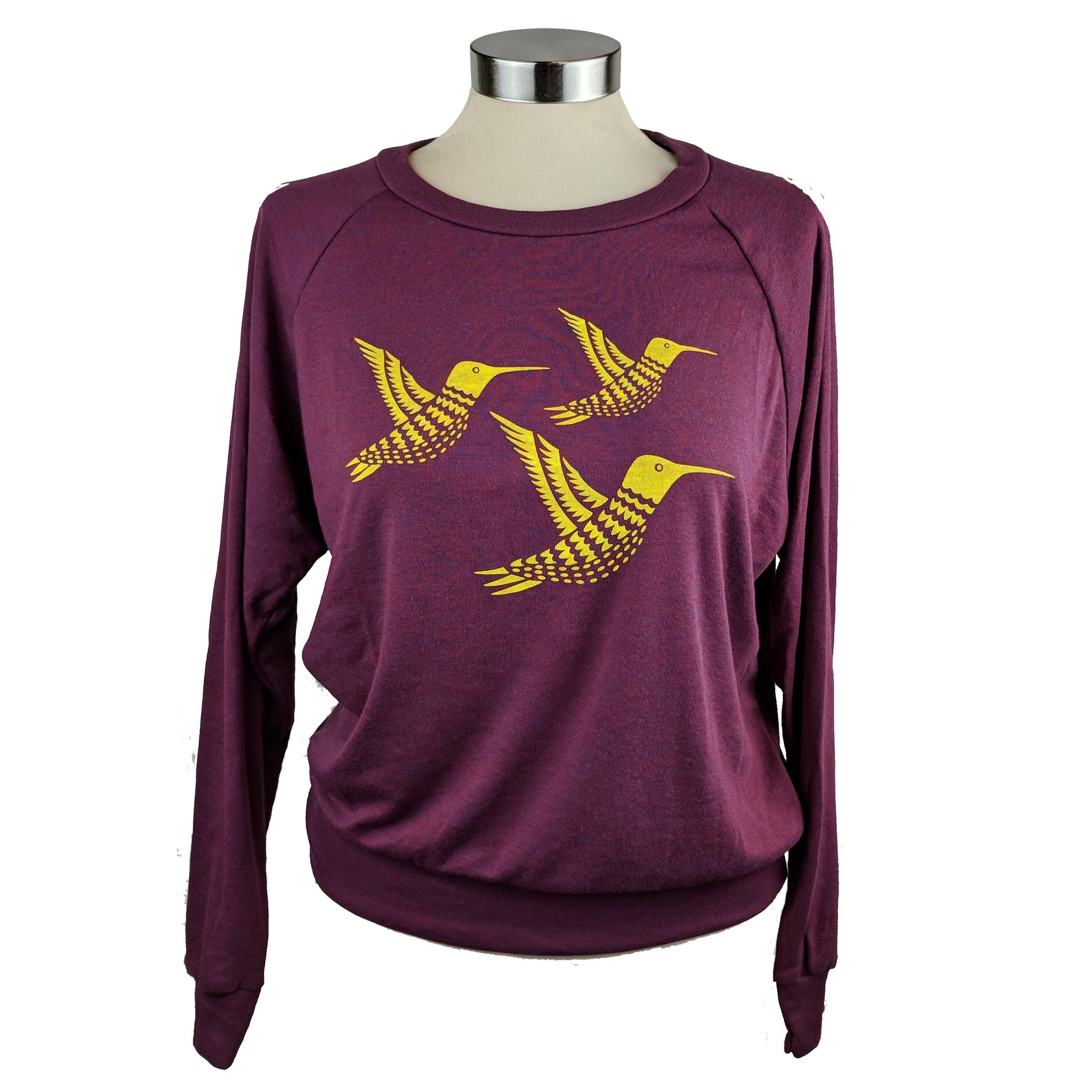Three Yellow Hummingbirds Heather Cranberry Sweatshirt