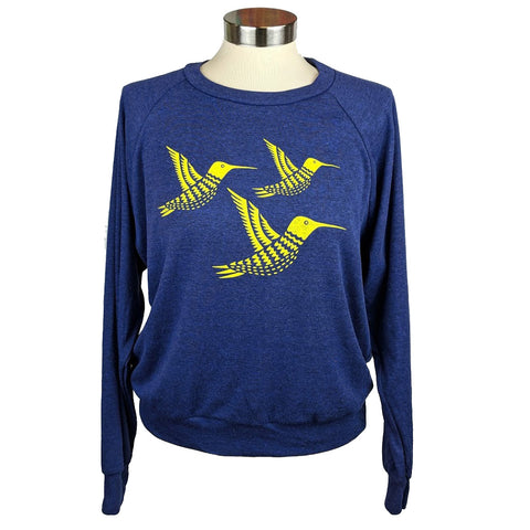 Three Yellow Hummingbirds Sweatshirt Heather Blue