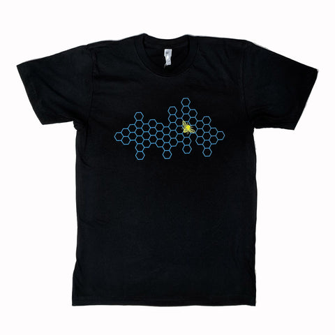 Honeycomb and Bee Black T-Shirt