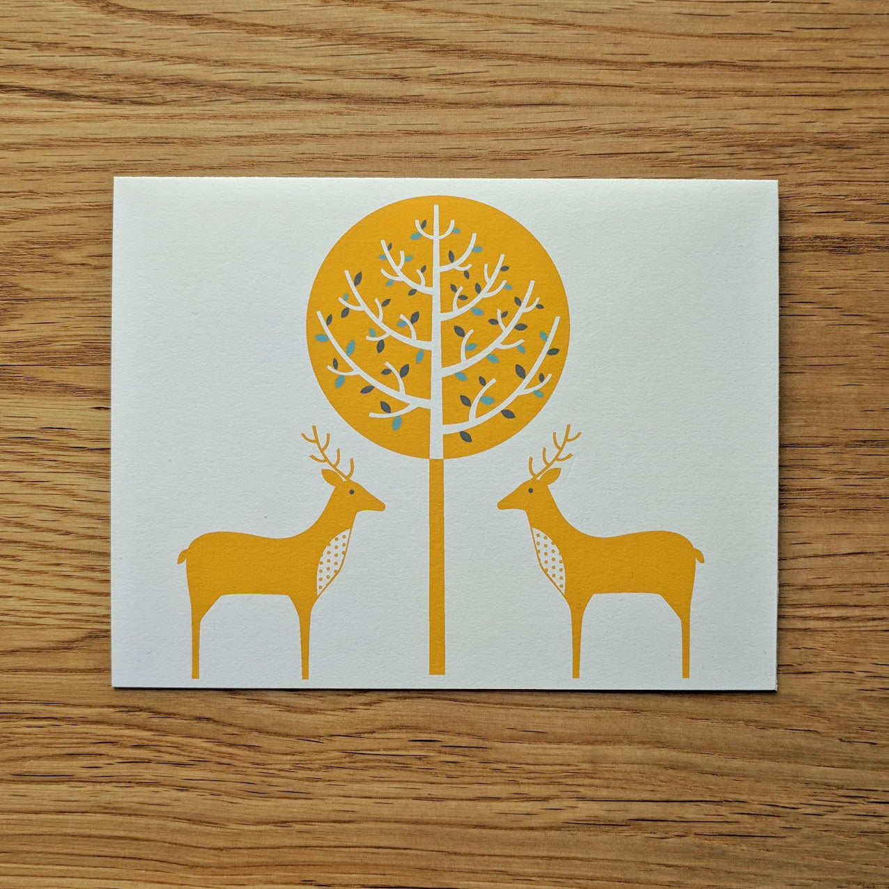 Two Deer and a Tree Greeting Card
