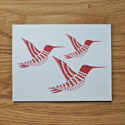 Three Red Hummingbirds Greeting Card