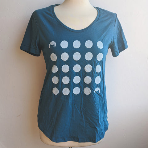 Cat Moons Blue Scoop Neck T-Shirt