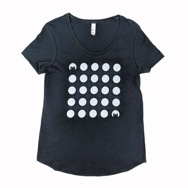 Cat Dot Moons Scoop Neck T-Shirt
