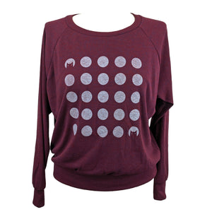 Cat Dot Moons Sweatshirt on Cranberry