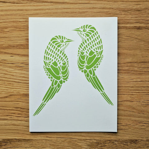 Two Green Birds Greeting Card