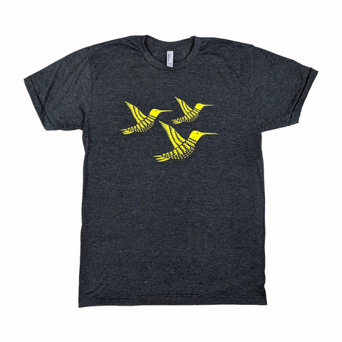 Three Yellow Hummingbirds Heather Black T-Shirt