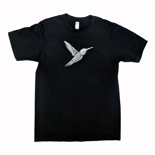 Silver Hummingbird on Black T-Shirt