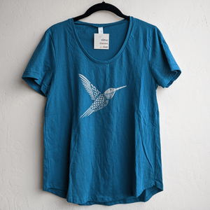 Silver hummingbird Blue Scoop Neck T-Shirt