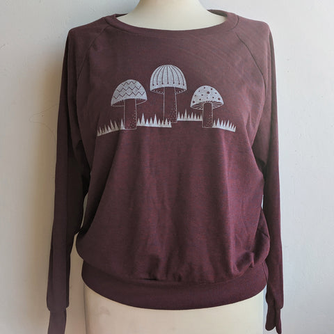 Silver Mushrooms Sweatshirt on Cranberry