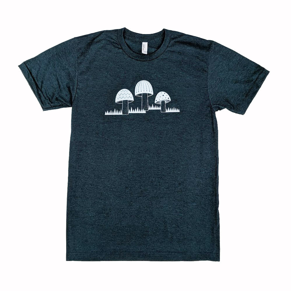 Three Mushrooms T-Shirt Heather Black