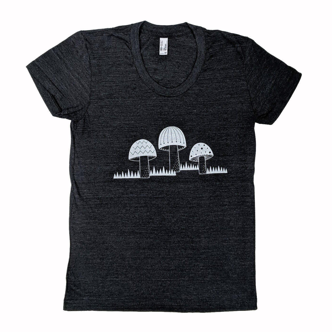 Three Mushrooms Heather Black T-Shirt