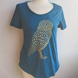Owl Blue Scoop Neck T-Shirt