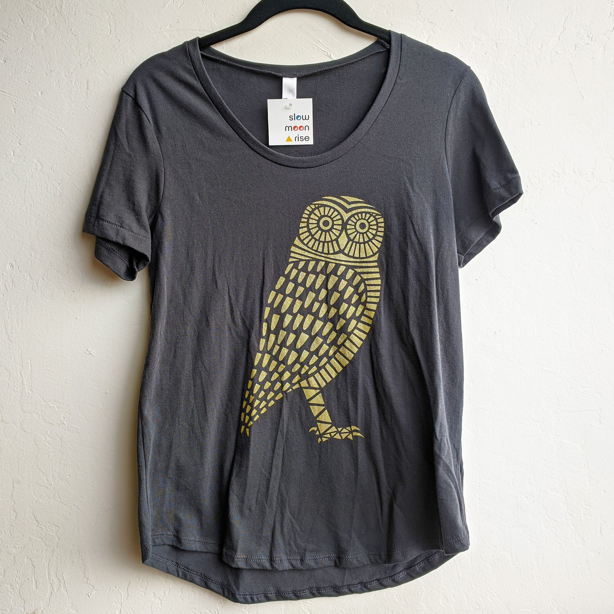 Owl Scoop Neck T-Shirt Charcoal Black