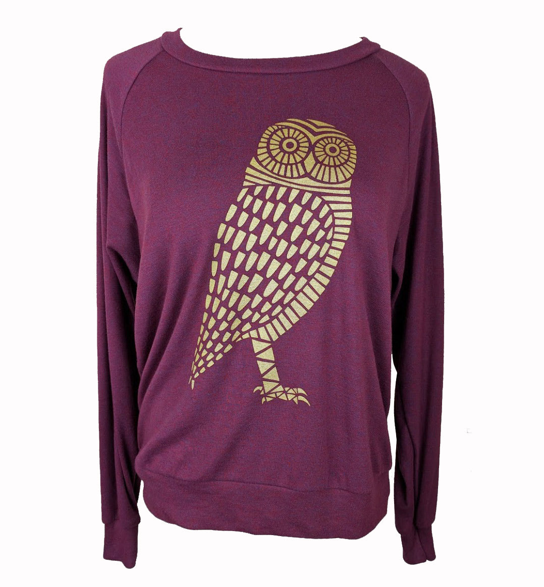 Gold Owl Sweatshirt on Cranberry