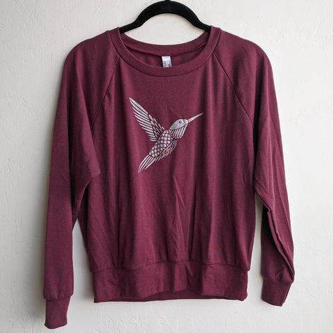 Silver Hummingbird Sweatshirt on Cranberry