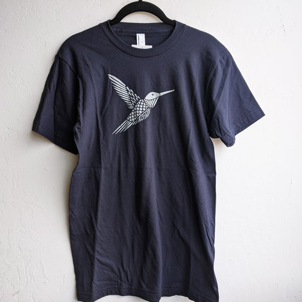 Silver Hummingbird on Navy T-Shirt