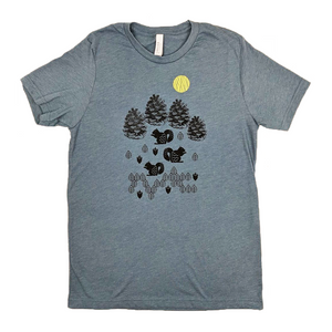 Squirrels and Pinecones Heather Slate T-Shirt