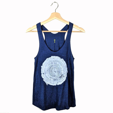 Tree Rings Tank Top on Blue