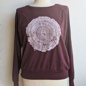 Tree Rings Sweatshirt on Cranberry