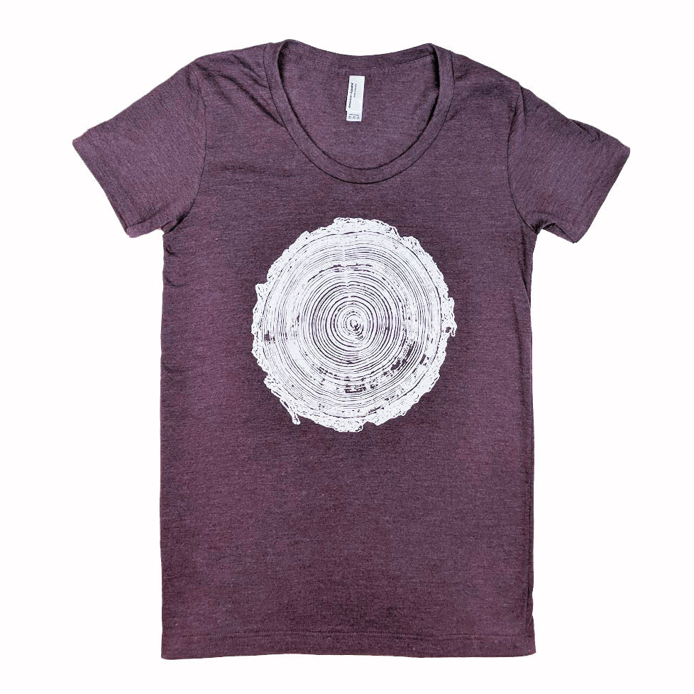 Tree Rings Heather Plum T-Shirt