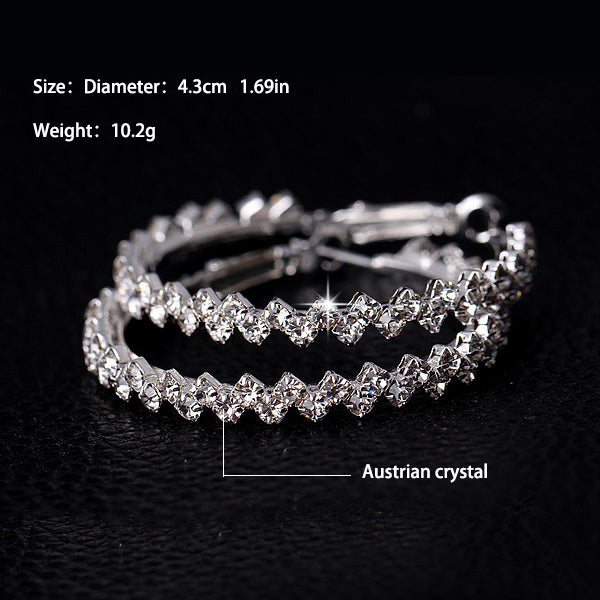 Charm Austrian crystal hoop earrings  .