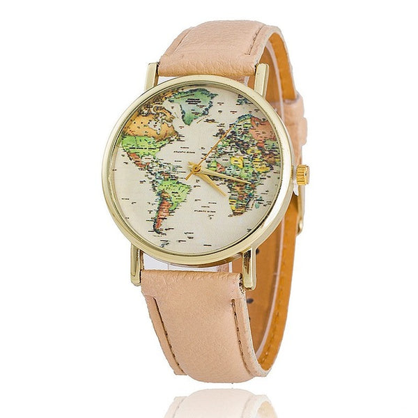 Leather Strap World Map Watch Women