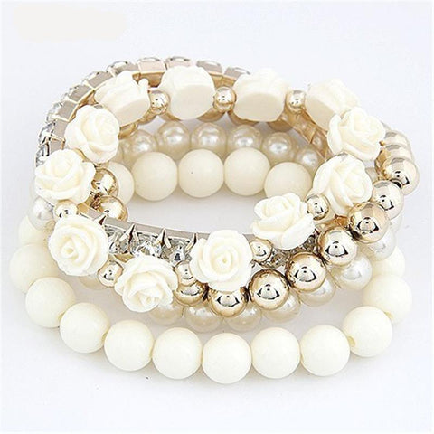 Sweet Flower Multilayer Beads Stretch Charm Bracelet