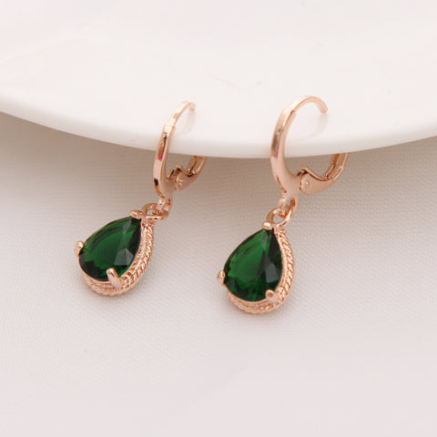 Gold Color Earrings Green Water Drop