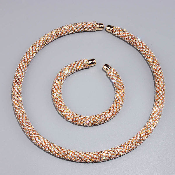 New Luxury Maxi Crystal Collar Necklace Gold/Silver